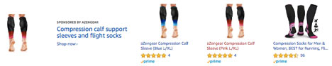 aZengear compression socks and calf sleeves, knee sleeve and plantar fasciitis socks